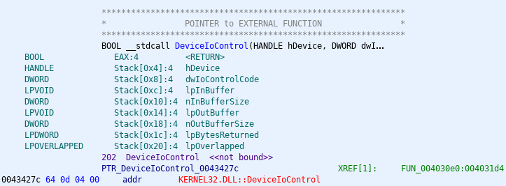 The reference to KERNEL32.dll's DeviceIoControl.