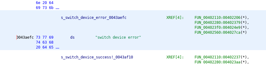 As shown in the XREF list, there are four different functions that refer to this string.